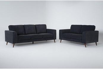 Casper Charcoal Blue 2 Piece Living Room Set