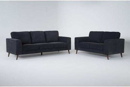 Casper Charcoal Blue 2 Piece Living Room Set - Main