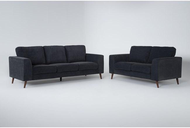 Casper Charcoal Blue 2 Piece Living Room Set - 360