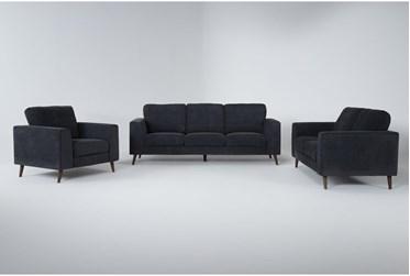 Casper Charcoal Blue 3 Piece Living Room Set
