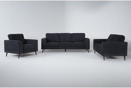 Casper Charcoal Blue 3 Piece Living Room Set - Main