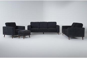 Casper Charcoal Blue 4 Piece Living Room Set