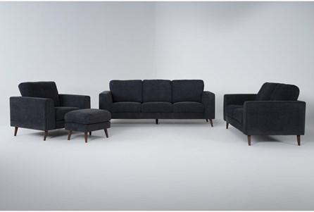 Casper Charcoal Blue 4 Piece Living Room Set - Main