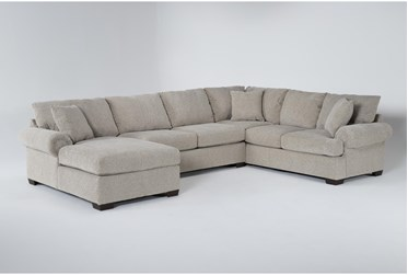 """Delina Driftwood 140"""" 3 Piece Sectional With Left Arm facing Chaise"""
