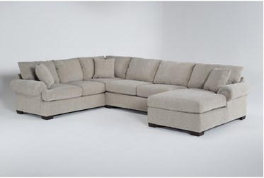 """Delina Driftwood 140"""" 3 Piece Sectional With Right Arm Facing Chaise"""