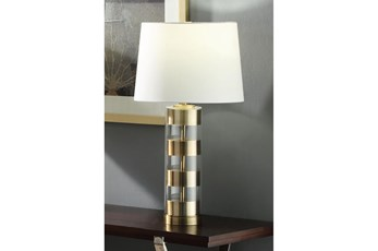 26.25 Inch Glass Antique Brass Table Lamp