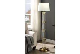 58 Inch Glass Antique Brass Floor Lamp