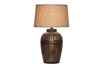 29 Inch Dark Brown Hydrocal Table Lamp