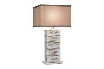29 Inch White Wash Hydrocal Table Lamp