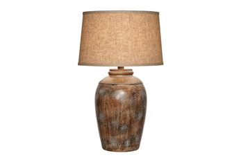 29 Inch Antique Silver Hydrocal Table Lamp