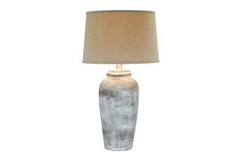 30.5 Inch Stone White Hydrocal Table Lamp