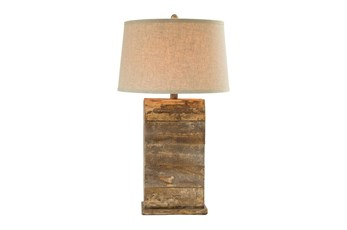 30.5 Inch Walnut And Oak Table Lamp
