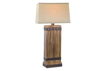 30 Inch Rustic Oak Table Lamp