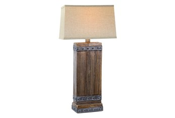 30 Inch Rustic Walnut Table Lamp