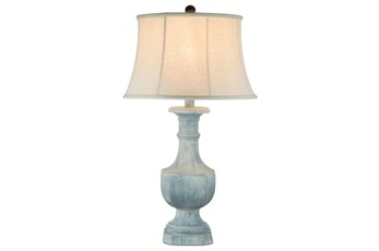32 Inch Light Blue Hydrocal Table Lamp