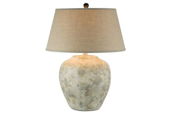 27.5 Inch Beige Hydrocal Table Lamp