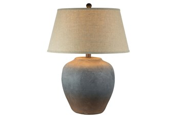 27.5 Inch Grey Rust Hydrocal Table Lamp