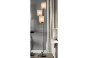 60 Inch Taupe Three Shade Floor Lamp
