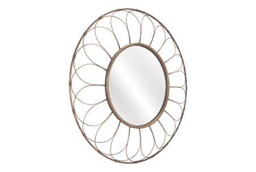 33 Inch Round Gold Mirror With Petal Frame Pattern