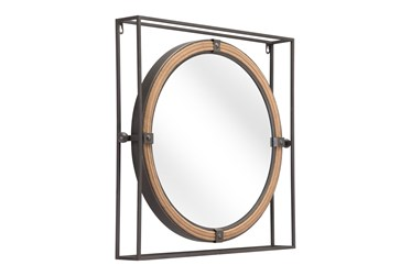 24X22 Round Mirror With Painted Steel Square Frame
