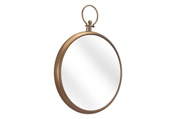 21X27 Round Gold Mirror With Hook Detail