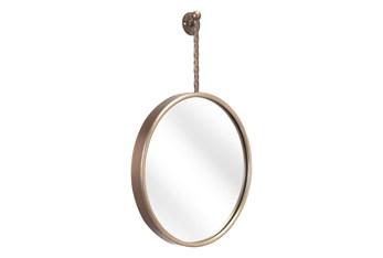 16X24 Hanging Round Gold Mirror