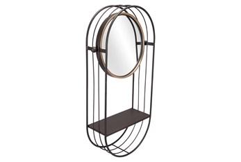 15X28 Round Mirror With Shelf
