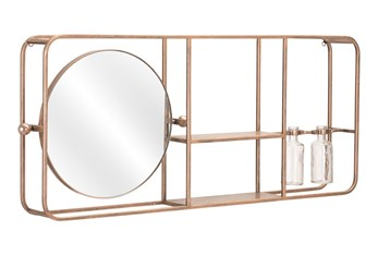 33X14 Gold Mirror With Shelves