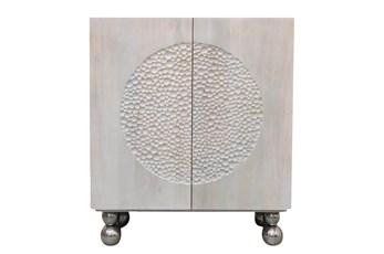 Wood Hammered Design Cabinet- White