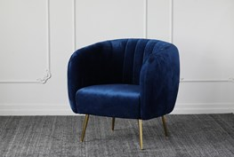 Blue Channel Accent Chair With Gold Legs