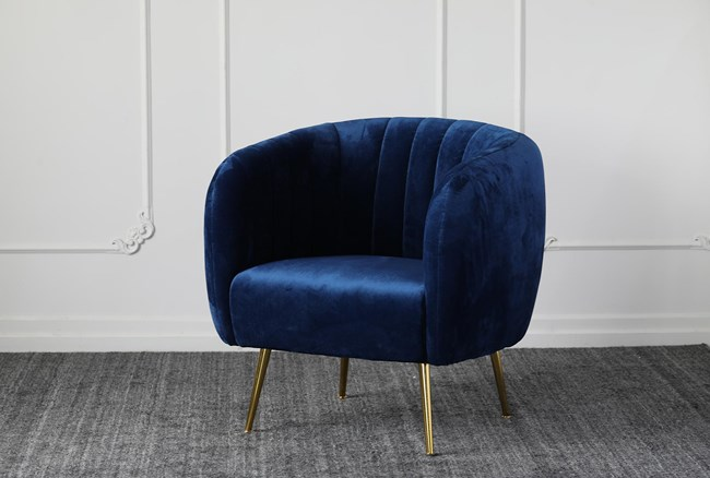 Blue Channel Accent Chair With Gold Legs - 360