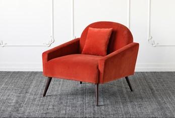 Orange Accent Chair With Oak Legs