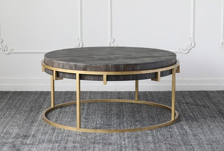 Black + Gold Round Coffee Table - Main