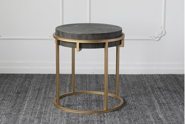 Black + Gold Round Accent Table