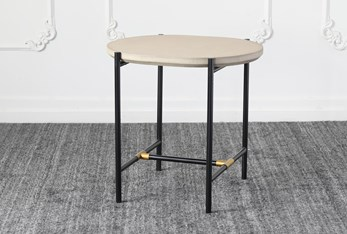 Grey Top With Black + Gold Base Accent Table