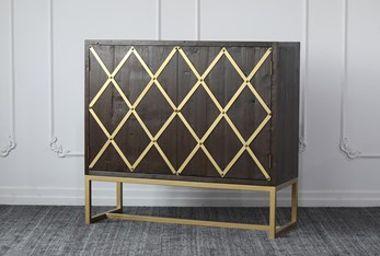 Weathered Reclaimed Pine + Brass Bar Cabinet