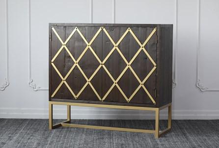 Weathered Reclaimed Pine + Brass Bar Cabinet - Main