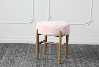Blush Stool With Natural Ash Legs
