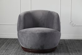 Grey Accent Chair With Oak Base