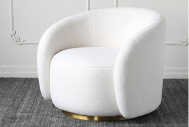 White Sherpa Accent Chair With Gold Base