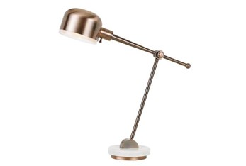 31 Inch Copper Metal Task Lamp With Marble Base And Metal Shade