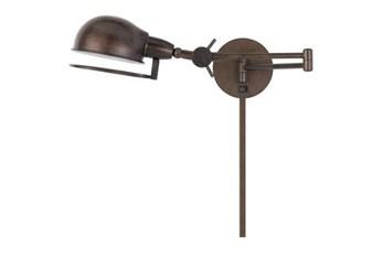 27 Inch Brown Metal Task Swing Arm Wall Lamp