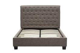 Upholstered Grey Tufted Eastern King Platform Bed