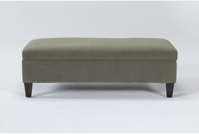 Perch II Fabric Olive Medium Rectangle Storage Ottoman - 360