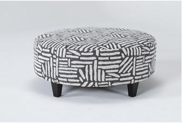 Perch II Fabric Charcoal Large Round Ottoman