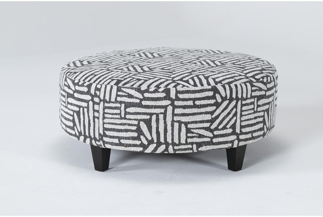 Perch II Fabric Charcoal Large Round Ottoman - 360