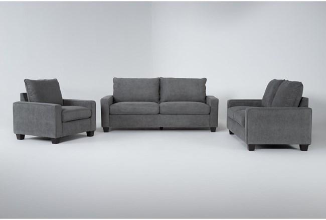 Reid Grey 3 Piece Living Room Set - 360