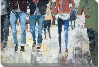 36X24 Hustle And Bustle With Gallery Wrap Canvas