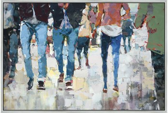 56X38 Hustle And Bustle With Silver Frame