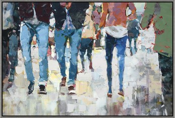 56X38 Hustle And Bustle With Grey Frame